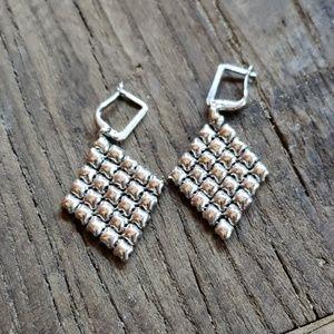 SG Liquid Metal Silver Mesh Earrings